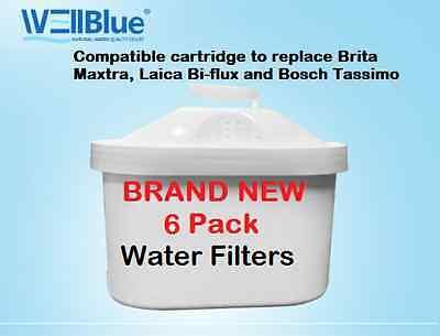 6 Pack Water Filter Cartridges Compatible Fits BRITA MAXTRA & Laica Bi-Flux