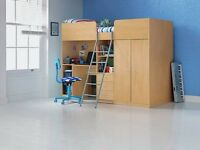 Argos Ohio High Sleeper single bed in beech with desk, shelves and wardrobe