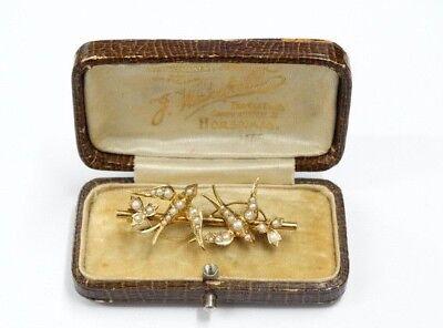 Gold 625 ( 15 kt ) GG Brosche Jugendstil,England um 190010 Schwalbempärchen