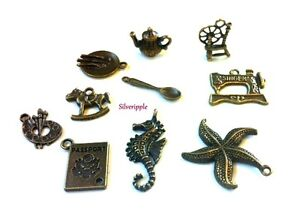 10-CHARM-PENDANTS-spinning-wheel-teapot-spoon-plate-passport-starfish-sewing