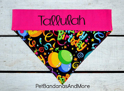 Dog Cat Bandana Happy Birthday Blue Personalized Name Bday Sz Xs L Over Collar