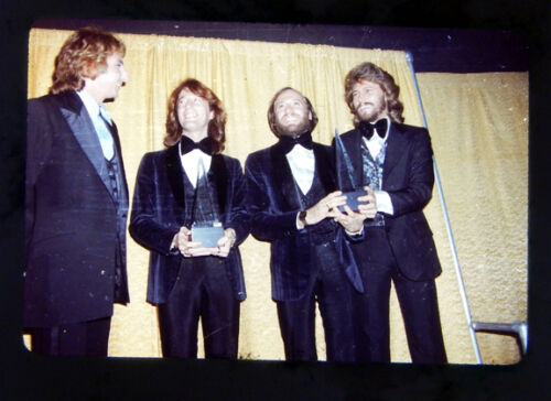 THE BEE GEES & BARRY MANILOW 35mm SLIDE TRANSPARENCY Award Acceptance DISCO