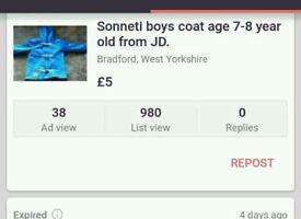 Sonetti boys coat age 7-8 year old
