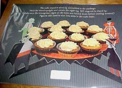 Meri Meri Halloween Cake or Cupcake Stand with Bats Witch Skeleton Monster Vamp