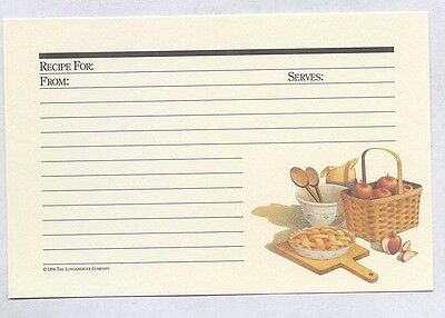 25 Longaberger Basket Apple Pie Ecru Autumn 4 x 6 Recipe Cards n zip bag 0 ship