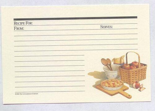 25 Longaberger Basket Shades of Autumn Apple Pie 4 x 6 Deluxe Ecru Recipe Cards