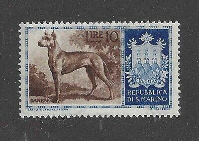 Dog Art Body Portrait Postage Stamp Brindle GREAT DANE San Marino 1957 MNH