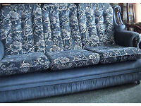 Blue 3 Piece Chesterfield