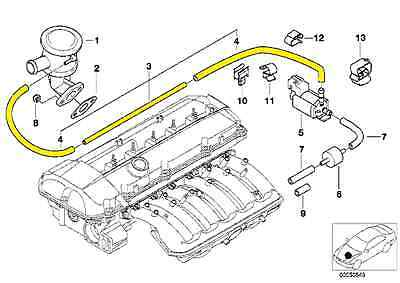 BMW E46 Secondary Air Pump Vacuum Line 11727574490 For