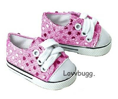 "Lovvbugg  Pink Sequins Sneakers Sparkle for 18"" American Girl or Bitty Baby Doll Shoes"
