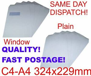 C4 DL C5 PLAIN WINDOW White Self Seal Envelopes 5 10 50 20 50 100 250 500 1000