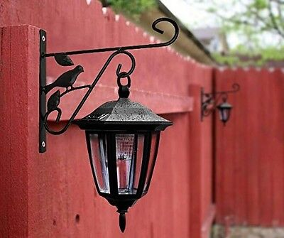Plant Lantern Wall Hanger Garden Cast Iron Planter Bird Feeder Bracket Hook