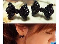 Ladies Black Bow earrings Wholesale 22 pairs