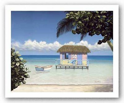 TROPICAL BEACH ART Island Hut by Daniel Pollera