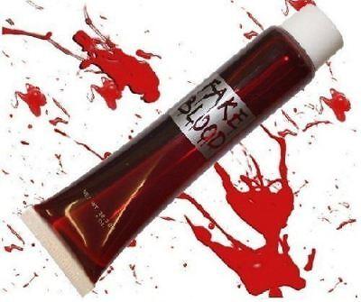 Halloween Fake Blood Clothes (10 Fake Blood Halloween Vampire Zombie Face Make Up Fancy Dress BULK)