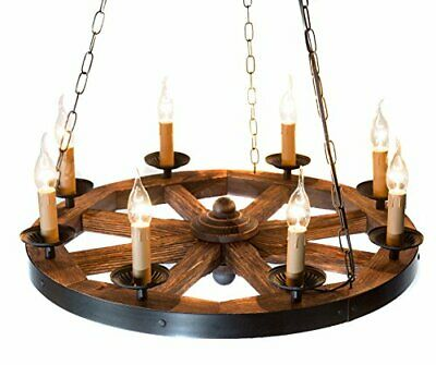 Wood Wagon Wheel Chandelier AIVENGO. Home Decor Farmhouse Vintage Rustic Style for sale  Shipping to Canada