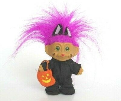 Vintage TROLL DOLL Black Cat Halloween Costume Pink Purple Fuschia Hair RUSS ?? - Troll Dolls Halloween Costume