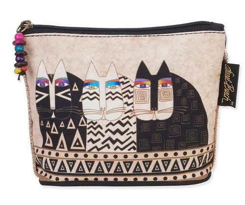LAUREL BURCH Cosmetic Bag FLORAL CAT Kitten Feline MAKEUP CASE Pouch CREAM BLACK