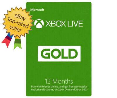 Microsoft 12 Month Xbox Live Gold Membership Xbox ONE 360 USA Region