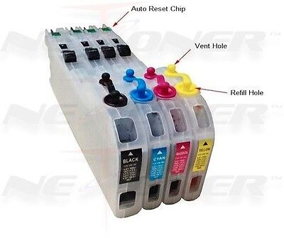 4 Refillable Ink Cartridges For Brother Lc-101 103 105 10...