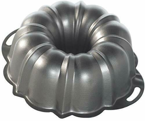 Nordic Ware Aluminum Bundt Cake Pan with Handles, 12 Cup, Non-stick Surface