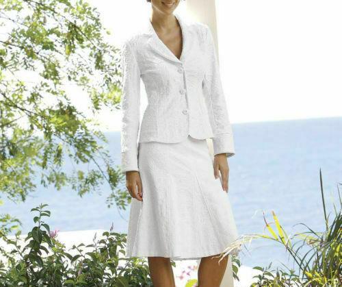 Monroe and Main White Anna Jacquard Skirt Suit Size 16W 18W 24W PLUS