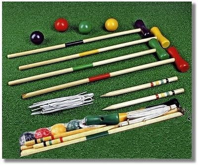 Childrens Kids 4 Player Wooden Croquet Set Outdoor Garden Toy Game