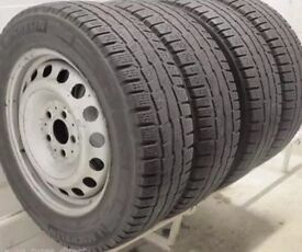 "vw t5 steel wheels and tyres 16"" good tyre tread"