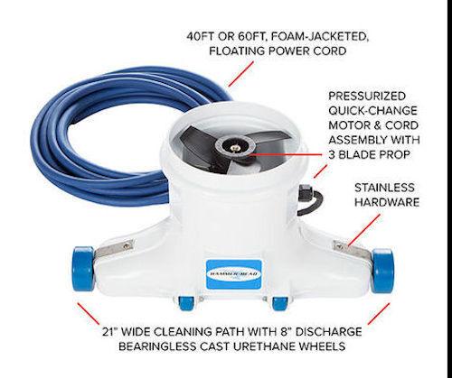 Pro Pool Cleaner HammerHead Pool Vac uses 12 volt Battery for Leaf debris pickup