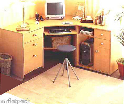 CORNER COMPUTER DESK BEECH SET HOME OFFICE*NEW*  R27