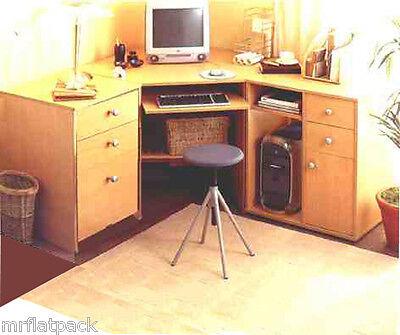 CORNER COMPUTER DESK BEECH SET HOME OFFICE*NEW*  R27
