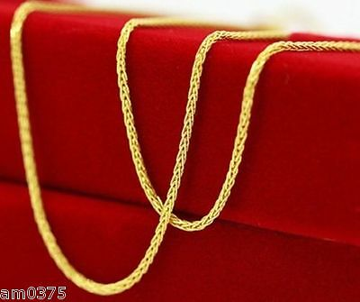 """18""""L ONSALE PURE 18K Yellow Gold Necklace/ Perfect Wheat Elegant Chain / 1.64g"""