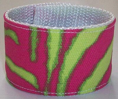 80s Slap Bracelets (Neon Zebra Colors 80s Slap Bracelet Wristband Hot Pop Animal Print Funky Fun)