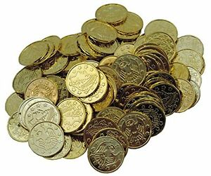 Gold Plastic Coins Novelty Pirate Fake Doubloons 100 Count