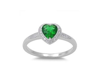 (Heart Emerald CZ Multi Stone Promise Ring Sterling Silver Sizes 5-9)