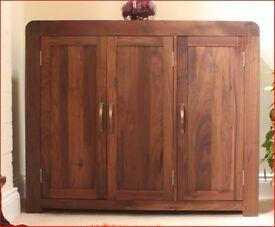 Superb solid walnut extra-large shoe cupboard