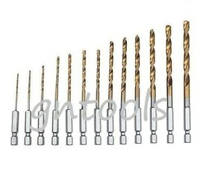 13PC-HSS-METAL-DRILL-BIT-SET-1-4-HEX-SHANK-1-5-6-5MM-QUICK-CHANGE-TITANIUM