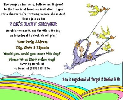 Dr. Seuss Places You'll Go Baby Shower Party Invitations Personalized