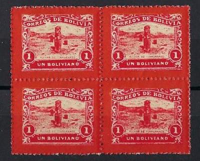 Bolivia 1914 Railroad stamp one boliviano red  unissued block 4 MNH