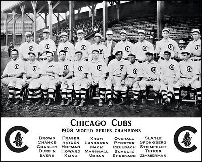 1908 Chicago Cubs Photo 8X10 - Tinker Evers Chance World Series Champions