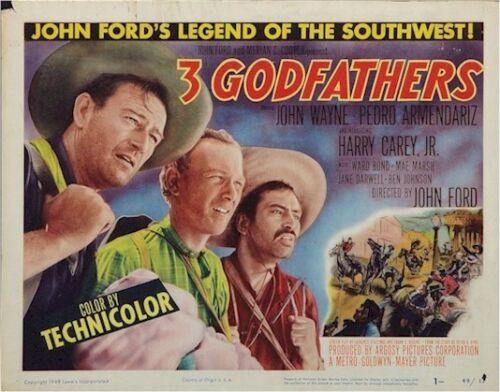 THREE GODFATHERS, JOHN WAYNE TITLE CARD VINTAGE MOVIE POSTER