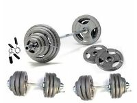 "105KG Olympic Barbell / Dumbbell Tri-Grip Plate Set - 6ft Olympic Bar & 20"" Olympic Dumbell Bar!!"