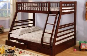 SAMANTHA SOLID WOOD TWIN OVER DOUBLE BUNK BED ON SALE