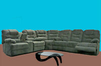 3PC Grey Chenille Fabric Sectional with 4 Recliner Seats $1898
