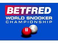 2 x World Snooker Championship Quarter Final Tickets (01/05/18)
