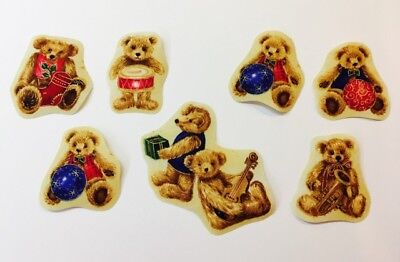 Set of 7 assorted fabric iron on motifs/patches embellishments teddy bears