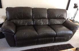 Leather sofa and 2 chairs with recliners
