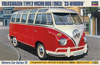 Hasegawa 1/24 Scale Model Car Kit VW Volkswagen Type 2 T1 Micro Samba Bus '1963