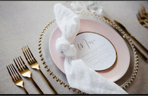 FOR HIRE: Gold Glass Charger Plates