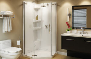 MAAX Olympia Pentangled Shower Door and White Base